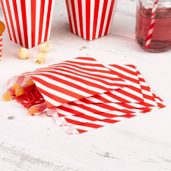 Carnival Red Sweet Bags - Stripes (25)